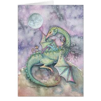 Luna que mira la tarjeta del arte de la fantasía d