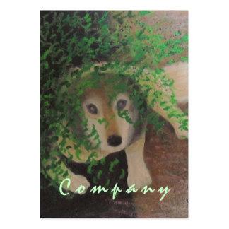 Luna - retrato fornido del perro del lobo - dulce tarjetas de visita