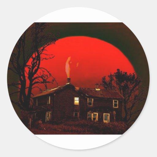 luna roja pegatina redonda