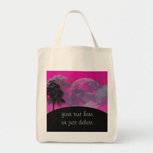 Luna rosada de la fantasía, nubes y personalizado  bolsa tela para la compra