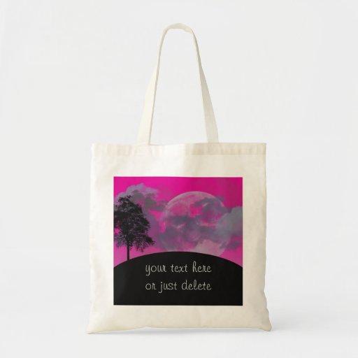 Luna rosada de la fantasía, nubes y personalizado  bolsa de mano