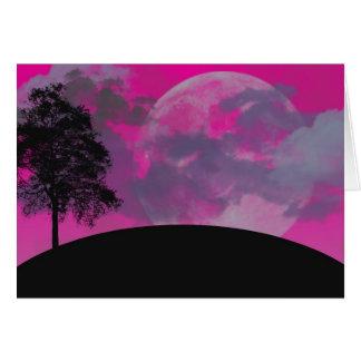 Luna rosada de la fantasía, tarjeta en blanco del