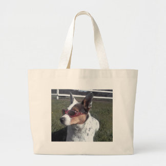 Luna Says Cool Dog in Sunglasses Tote Bags