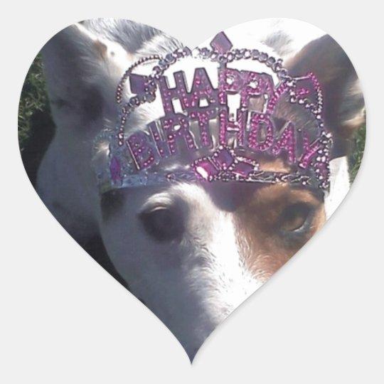 Luna Says Happy Birthday tiara Heart Sticker
