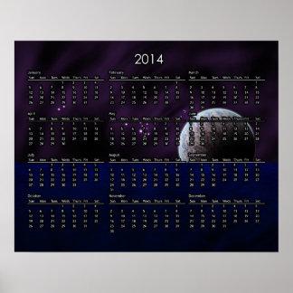 Luna sobre el calendario del agua 2014 posters