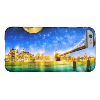 Luna sobre el horizonte de Manhattan - de New York Funda Para iPhone 6 Barely There