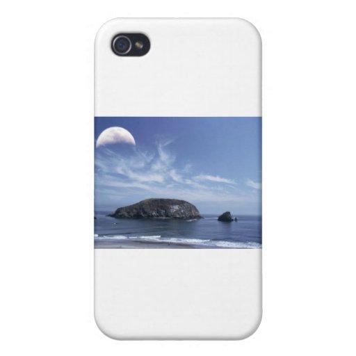 Luna sobre Haystack iPhone 4 Carcasas