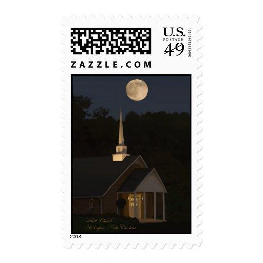Luna sobre iglesia del brezo franqueo