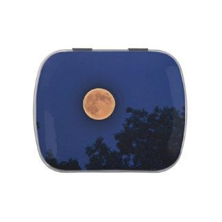Luna sobre la lata del caramelo de la granja de Pa Jarrones De Dulces