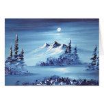 Luna sobre la montaña azul felicitacion
