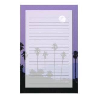 Luna sobre las palmeras en la oscuridad, Hollywood Personalized Stationery