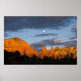 Luna sobre Sedona, Arizona 2226 Póster