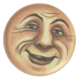 Luna sonriente feliz del vintage plato