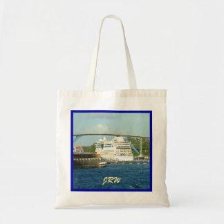 Luna Stern in Blue Border Monogrammed Tote Bag