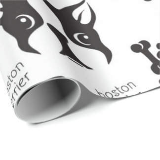 Luna Terrier in B&W Wrapping Paper