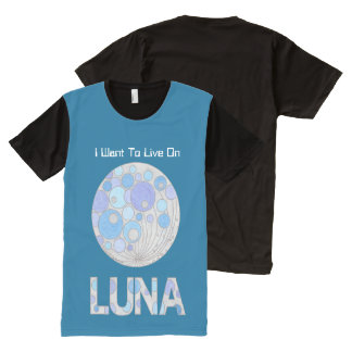 Luna The Full Moon Blue And Purple Space Geek All-Over Print T-shirt