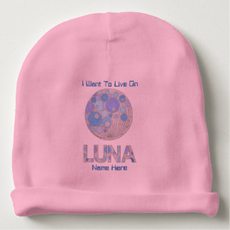Luna The Full Moon Blue And Purple Space Geek Baby Beanie