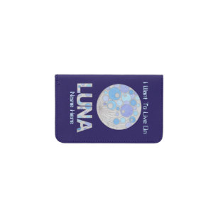 Geek business card holders cases zazzle luna the full moon blue and purple space geek business card holder colourmoves