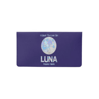 Luna The Full Moon Blue And Purple Space Geek Checkbook Cover