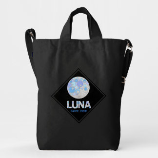 Luna The Full Moon Blue And Purple Space Geek Duck Canvas Bag