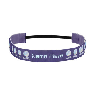 Luna The Full Moon Blue And Purple Space Geek Athletic Headbands
