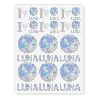 Luna The Full Moon Blue And Purple Space Geek Temporary Tattoos