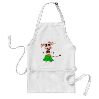 Luna, the hula-hula moo-cow. apron