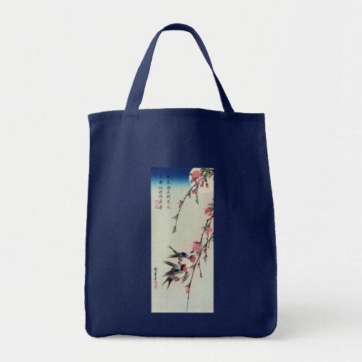 Luna, tragos, y flores del melocotón, Ando Hiroshi Bolsas Lienzo