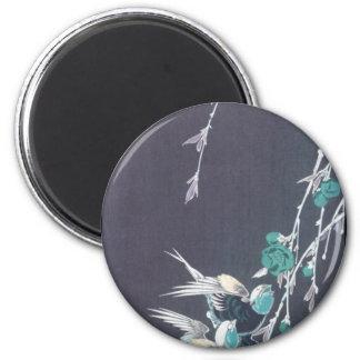 Luna, tragos, y flores del melocotón circa 1850 imán redondo 5 cm