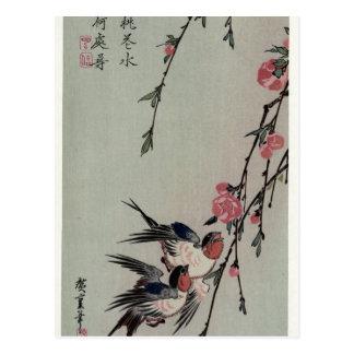 Luna, tragos y flores del melocotón por Hiroshige Postal