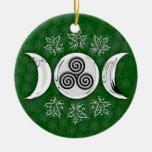 Luna triple y espiral triple #17 adorno redondo de cerámica
