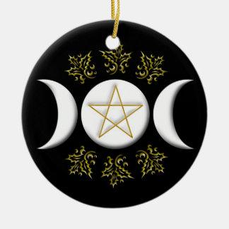 Luna triple y Pentagram #1 nuevos Adorno Navideño Redondo De Cerámica