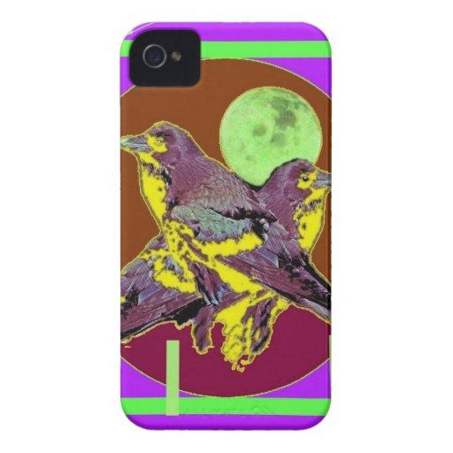 Luna verde tropical de los pájaros de noche por Sh iPhone 4 Carcasas