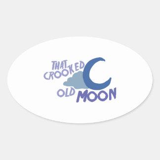 Luna vieja cocinada pegatina ovalada