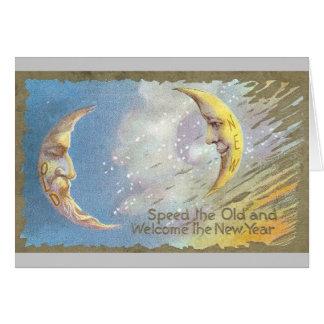 Luna vieja y Luna Nueva Tarjeta De Felicitación