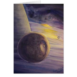 Luna y anillos de Saturn Tarjeta De Felicitación