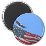 Luna y bandera de Eagle Imanes De Nevera