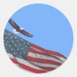Luna y bandera de Eagle Pegatina Redonda