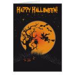 Luna y bruja 2 del feliz Halloween Tarjetas