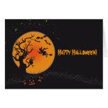Luna y bruja del feliz Halloween Tarjetas