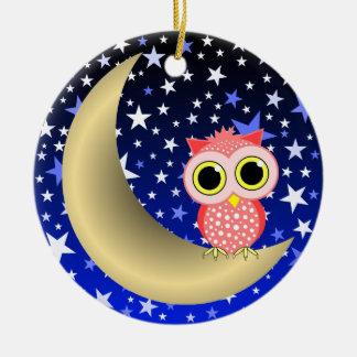 luna y búho crecientes ornaments para arbol de navidad