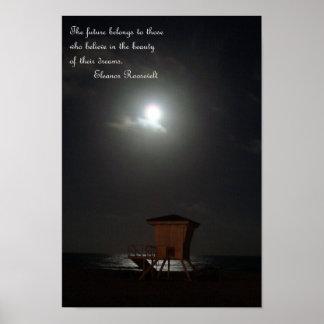 luna y cabaña y lona de la cita poster
