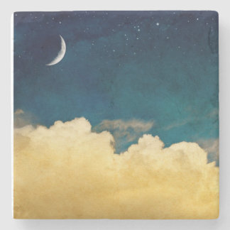 Luna y Cloudscape Posavasos De Piedra
