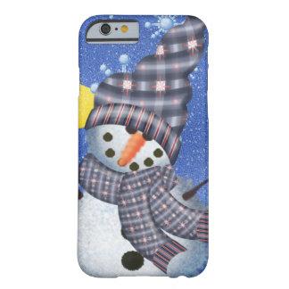 Luna y copo de nieve crecientes del muñeco de funda de iPhone 6 barely there