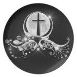 Luna y cruz platos para fiestas