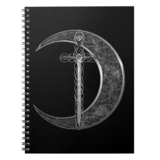 Luna y espada célticas grises cuaderno