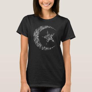 Luna y estrella crecientes afiligranadas playera