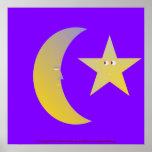 Luna y estrella crecientes poster