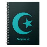 Luna y estrella islámicas libretas espirales