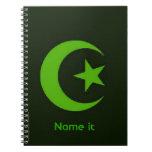 Luna y estrella islámicas libros de apuntes